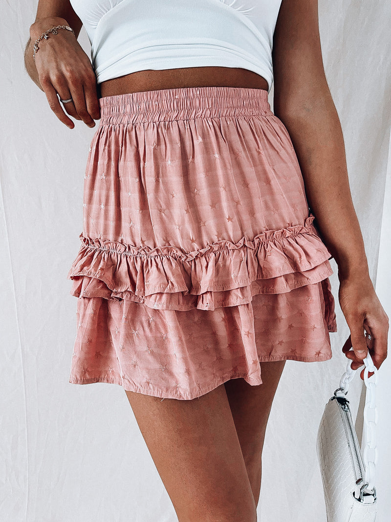 Mauve Written In The Stars Mini Skirt