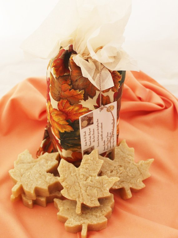 Autumn Maple Leaf Soaps in a Handmade Pouch