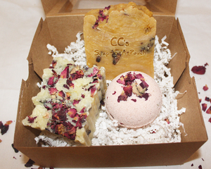 Rose Soaps and a Bath Bomb Gift Set
