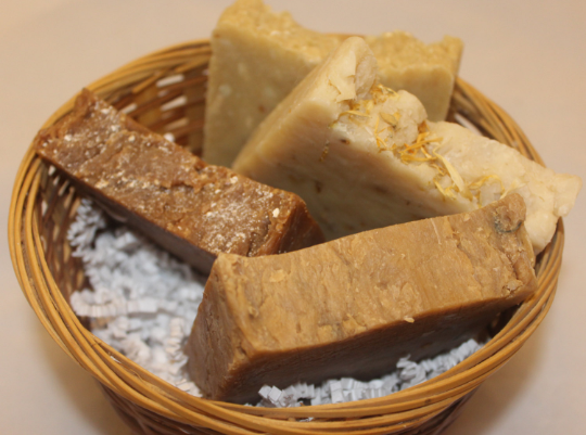 Natural Rustic Soaps in a Country Basket