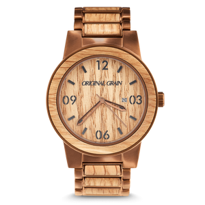 Whiskey by Original Grain | Men's Watch | 47mm | Espresso Stainless Steel Band | Barrel Line - Qatalyst