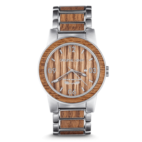 The Brewmaster by Original Grain | Brushed Silver Stainless Steel Band | Barrel Line | 2 Sizes - Qatalyst