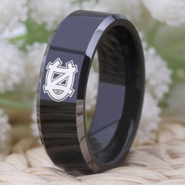 University of North Carolina Tarheels | UNC | Tungsten Ring Band | Black and Silver | 8MM