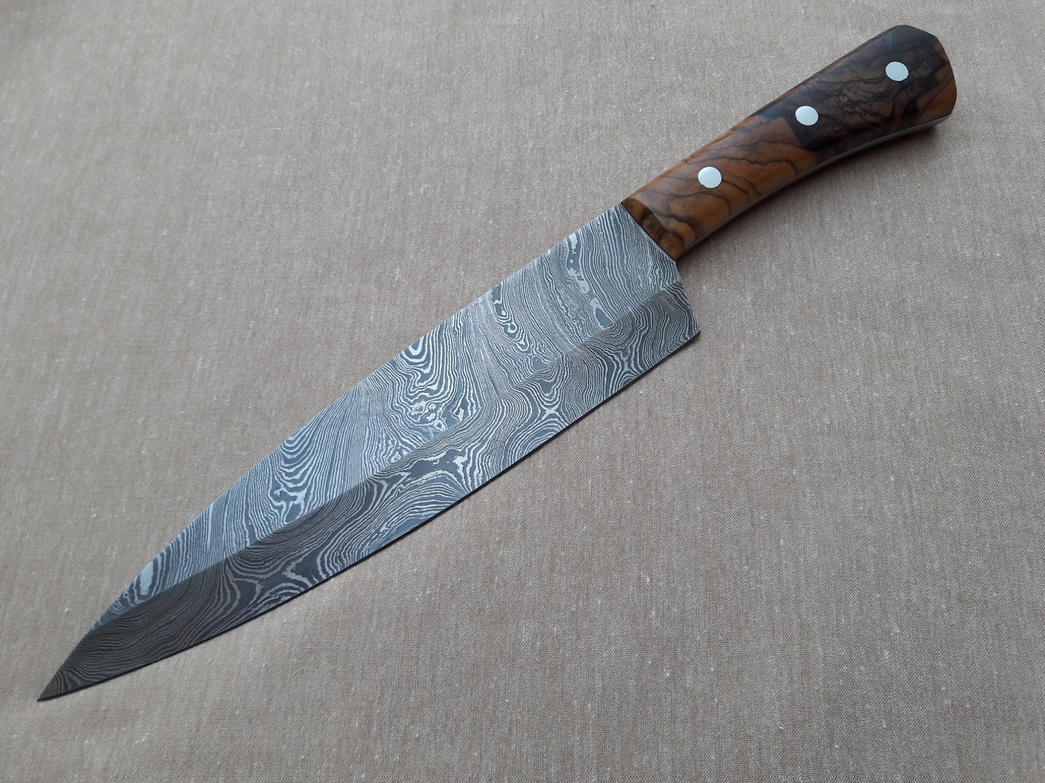 "13"" Hand Forged Custom Damascus Chef's Knife 
