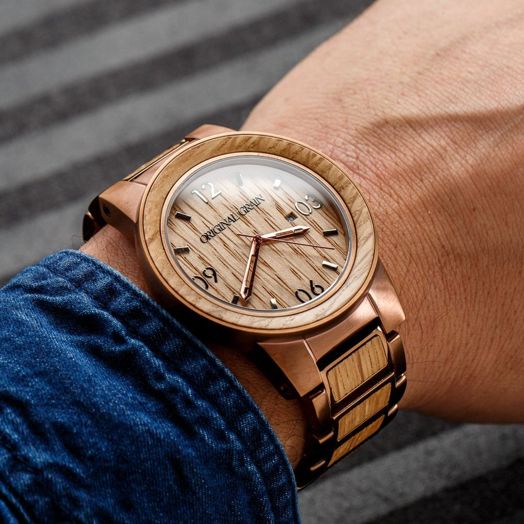 analog grain collection and watch original steel quartz product movement whiskey stainless band wood japanese barrel watches wrist