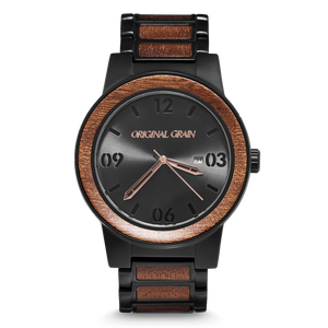 Sapele Black by Original Grain | Men's Watch | 47mm | Matte Black Stainless Steel Band | Barrel Line - Qatalyst