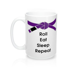 Jiu-Jitsu Coffee Mug | Roll, Eat, Sleep, Repeat | Purple Belt | 15oz | Free Shipping - Qatalyst
