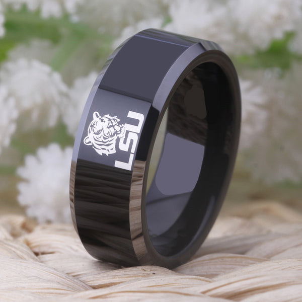 Louisiana State University Tigers | LSU | Tungsten Ring Band | Black and Silver | 8MM