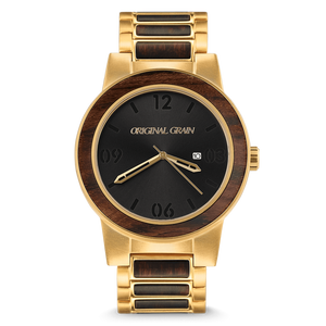 Ebony Gold by Original Grain | Antique Gold Plated Stainless Steel Band | Barrel Line | 2 Sizes - Qatalyst