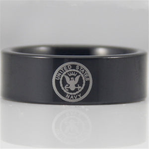 US Navy Logo Military Tungsten Ring Band | Comfort Fit | Black | 8MM