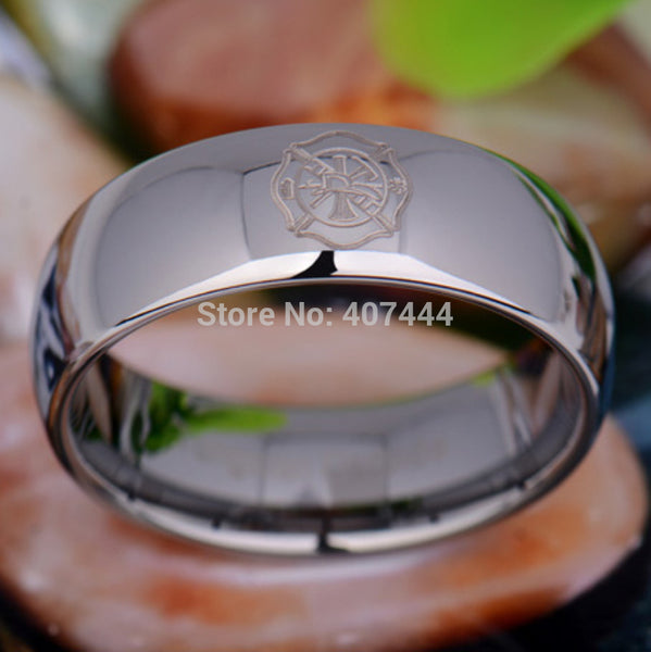 Silver Tungsten Firefighter Band Ring | Comfort Fit | Fireman Design | Fire Dept. | 8MM - Qatalyst