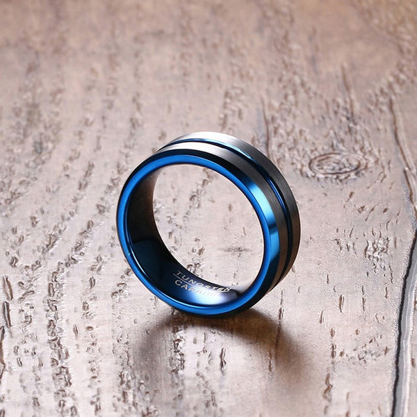 Vnox 8mm Thin Blue Line Tungsten Carbide Ring Wedding Band - Qatalyst