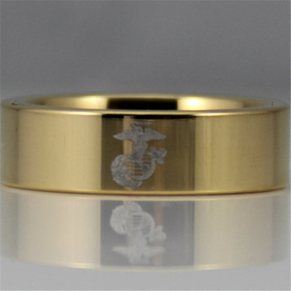 USMC Gold Beveled Designer Men's Ring | Tungsten | Comfort Fit | 6MM - Qatalyst
