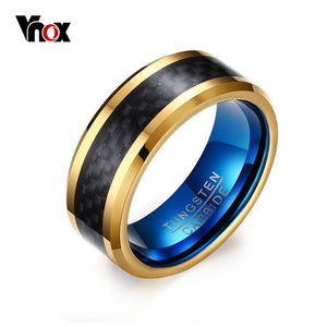 Vnox Blue Tungsten Carbide 8mm Men's Rings with Black Carbon Fiber Inlay - Qatalyst