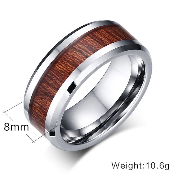 Vnox Tungsten Carbide Men's Ring with Wood Grain Inlay Design | Available in Black or Silver - Qatalyst