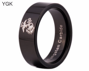 USMC Black Beveled Designer Men's Ring | White Marine Corp Logo | Tungsten | Comfort Fit | 8MM - Qatalyst