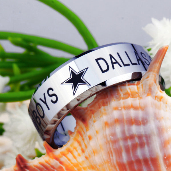 Dallas Cowboys Football Tungsten Ring Band | Black on Silver | Comfort Fit | 8MM - Qatalyst