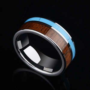 Silver & Koa Wood and Blue Stone Inlay | Men's Ring | Tungsten Carbide | High Polished | 8MM - Qatalyst