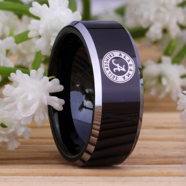 University of Alabama Crimson Tide | UA | Tungsten Ring Band | Black and Silver | 8MM - Qatalyst
