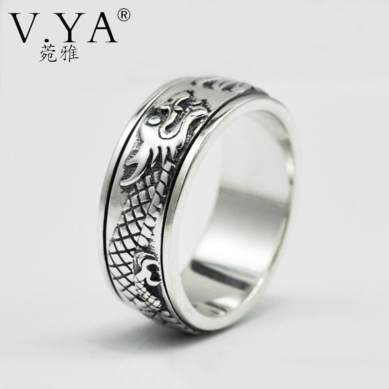 Sterling Silver Chinese Dragon Ring | 100% Sterling Silver | Rotatable | Men and Women - Qatalyst