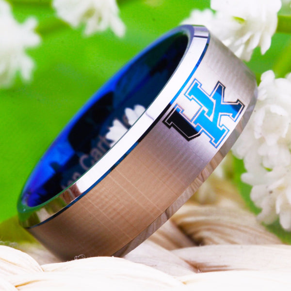 University of Kentucky Wildcats | UK | Tungsten Ring Band | Blue on Silver | 8MM - Qatalyst