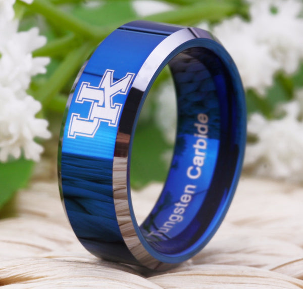 University of Kentucky Wildcats | UK | Tungsten Ring Band | White on Blue | 8MM - Qatalyst