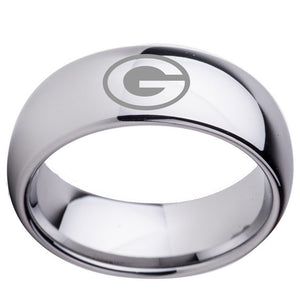 University of Georgia Bulldogs | UGA | Tungsten Ring Band | Silver | 8MM | Comfort Fit - Qatalyst