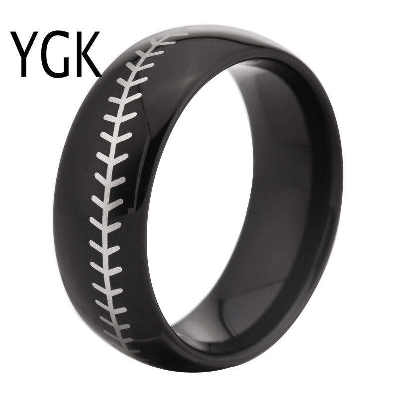 Black Dome Baseball Ring Band with White Baseball Stitch | Tungsten Carbide | Comfort Fit | 8mm - Qatalyst