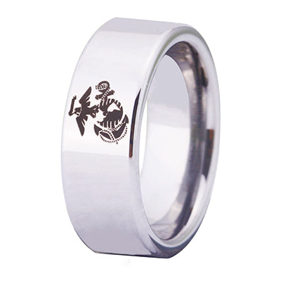 USMC Silver Beveled Designer Men's Ring | Tungsten | Comfort Fit | 8MM - Qatalyst