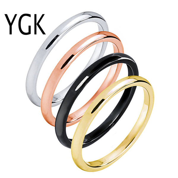 Tungsten Wedding Ring Band | 2MM | Rose Gold/Gold/Silver/Black | Stackable - Qatalyst