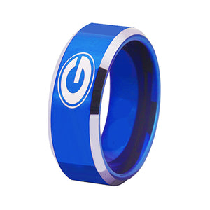 University of Georgia Bulldogs | UGA | Tungsten Ring Band | Blue and Silver | 8MM - Qatalyst