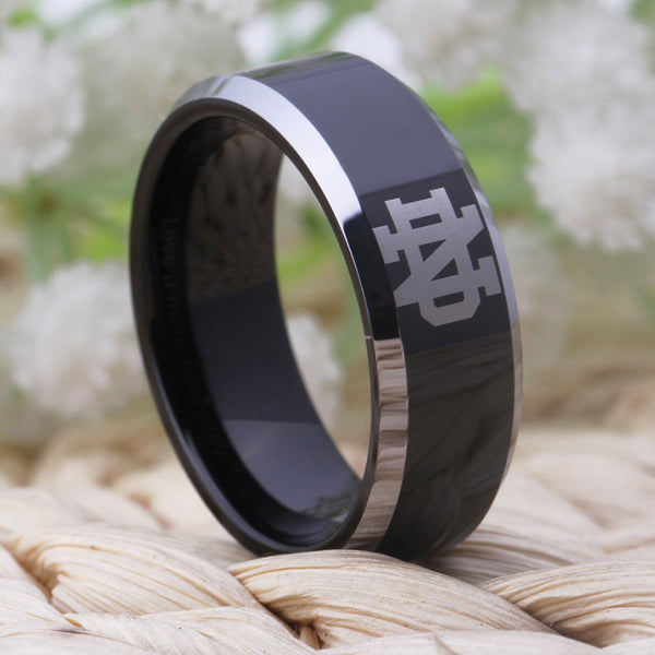 University of Notre Dame Fighting Irish | ND | Tungsten Ring Band | Black and Silver | 8MM - Qatalyst