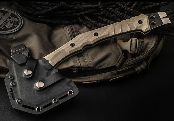 HX OUTDOORS Multi-functional Tactical Axe | Rescue | Hiking | Camping | Kydex Sheath