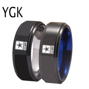 US Army Military Logo Tungsten Ring Band | Blue and Silver | 8MM