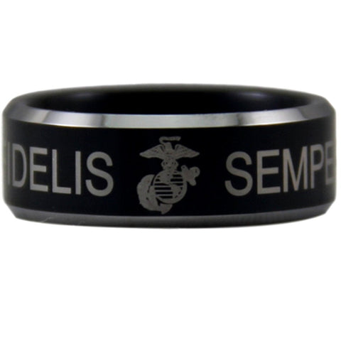 USMC 8MM Black Tungsten Band Ring | Comfort Fit Semper Fidelis - Qatalyst
