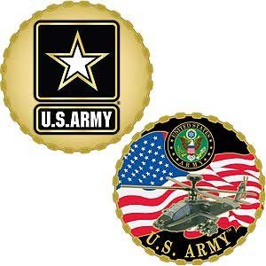 U.S. Army Challenge Coin | Army Star/Apache Style | Colored Enamel | Clam Pack Incl. - Qatalyst