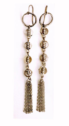 Silver tassle earrings