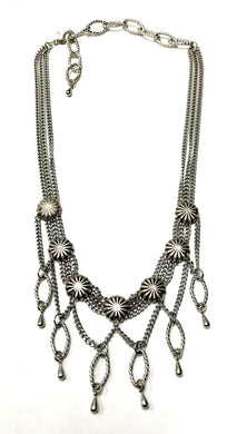 Silver multi layered necklace