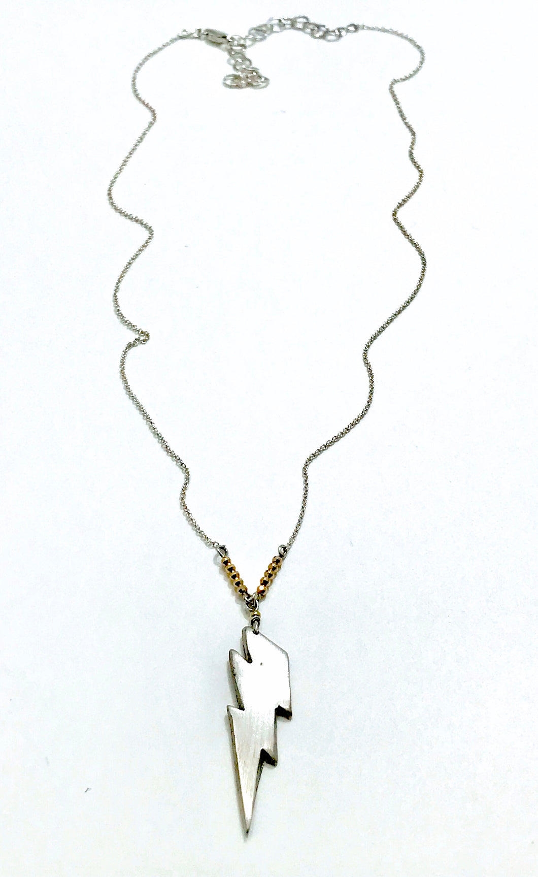 ✨Sterling Silver & 14KT Gold Lightening Bolt Necklace✨