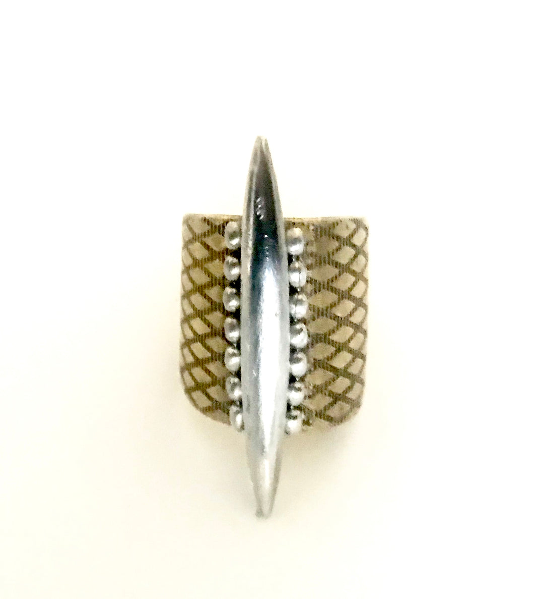 Spike Ring✨ Sterling silver and brass adjustable ring