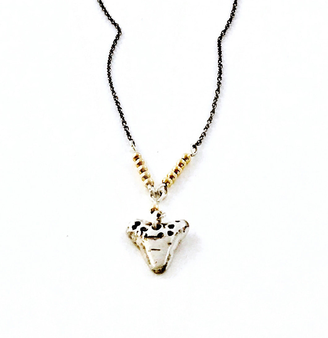 ✨Sterling Silver 14KT Gold SharkTooth Necklace✨