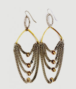 silver and gold 4 row chain drop earring