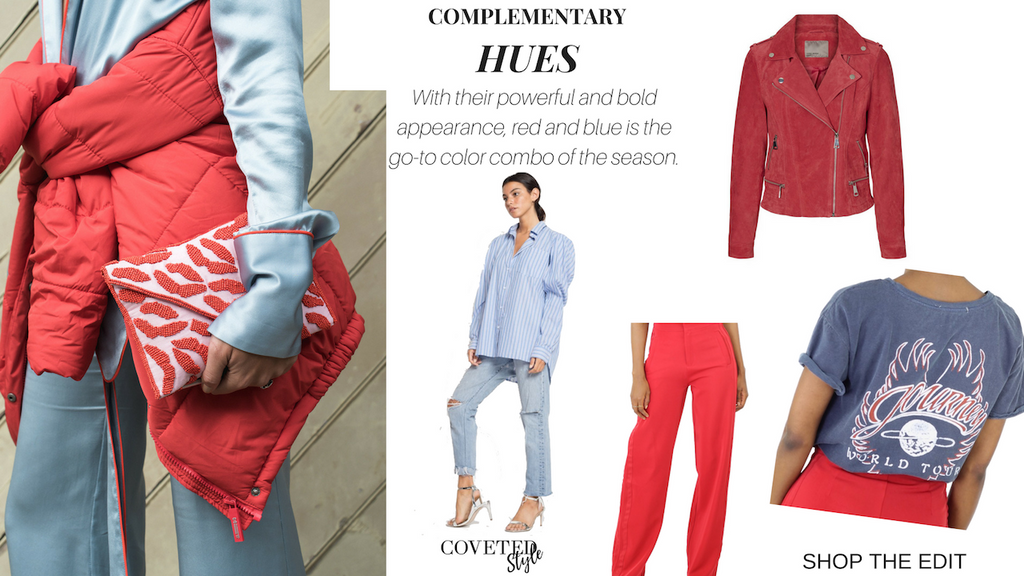 how to wear red and blue on coveted style. shop the edit
