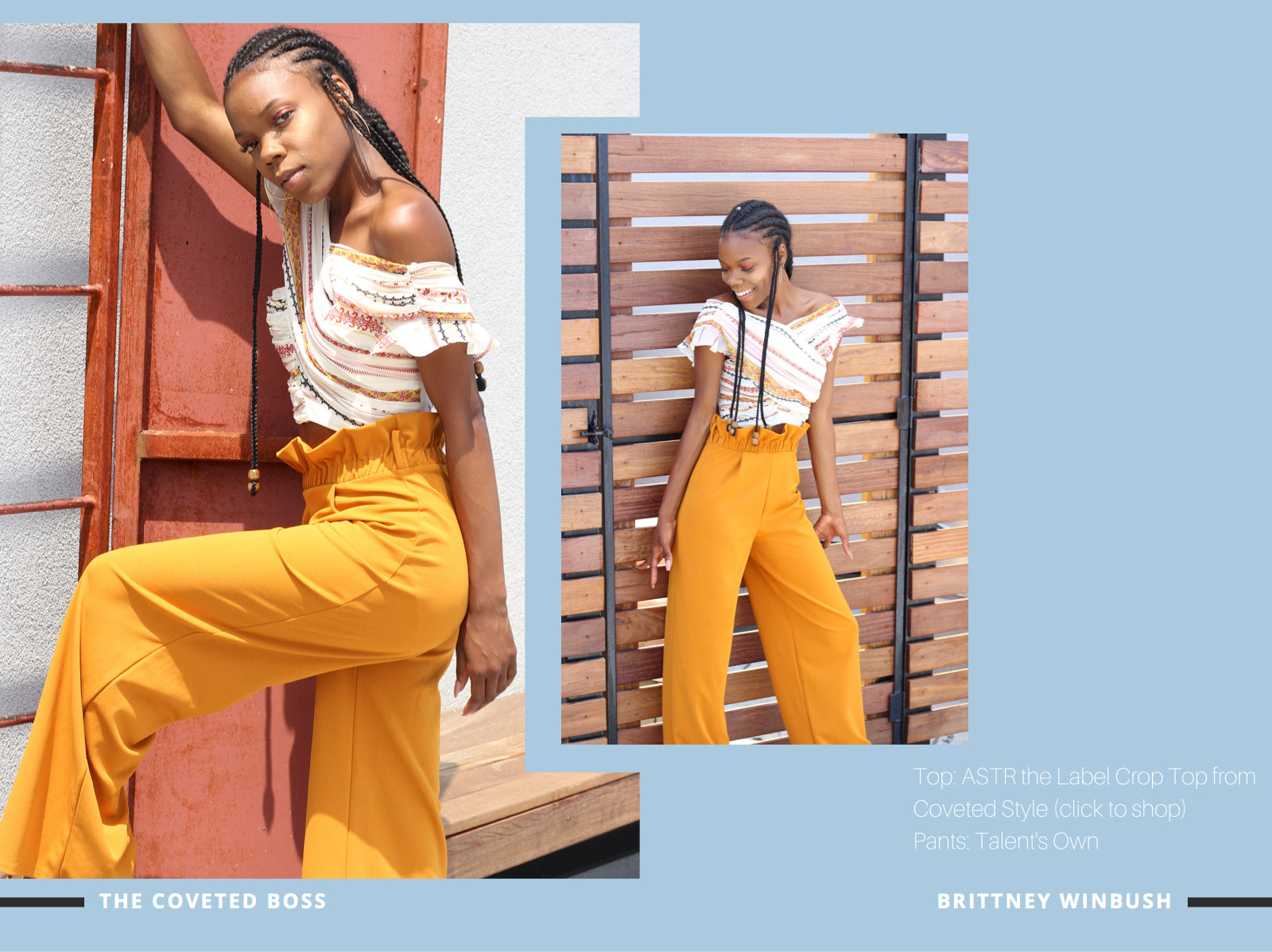 coveted style brittney winbush wearing astr the label crop top and wide leg pant
