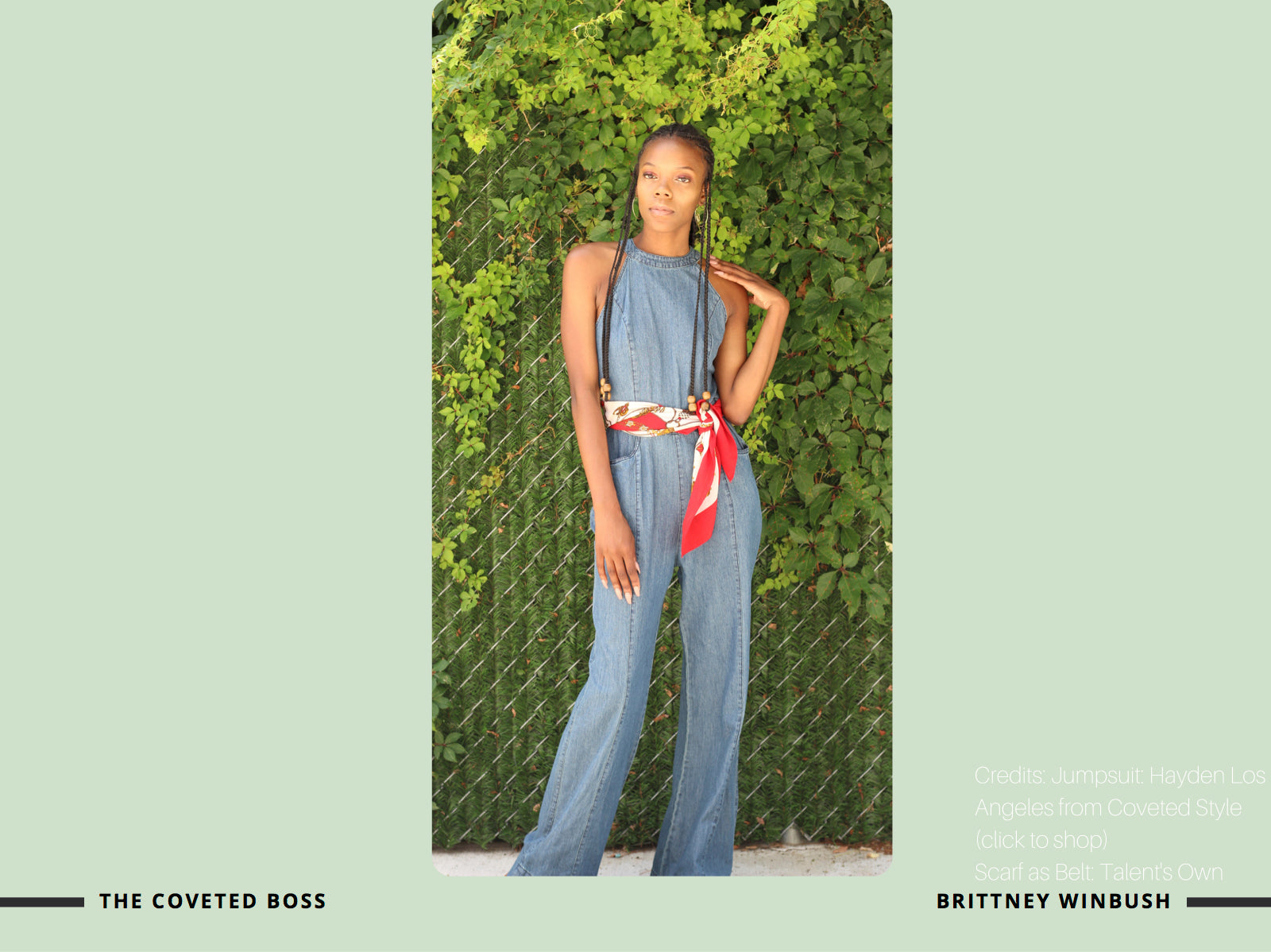 coveted style brittney winbush of alexandra winbush wearing denim jumpsuit