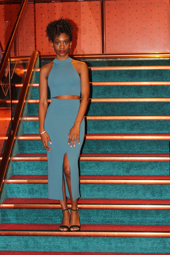Teal cutout dress by endless rose bahamas travel guide