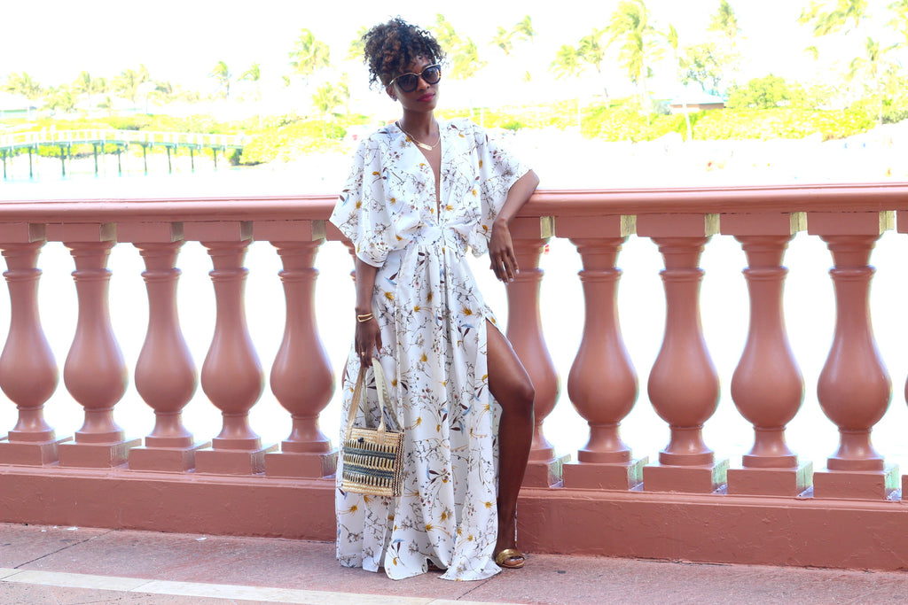 White floral kimono dress in Bahamas