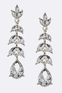 Lily Jeweled Silver Dangle Earrings