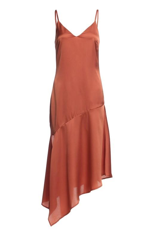 Asymmetric Satin Slip Dress - Coveted Style