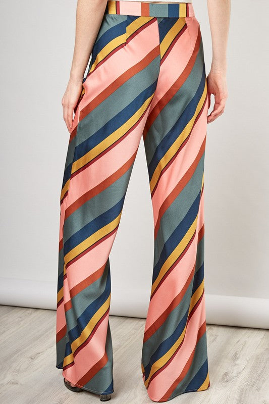 Striped Satin Trousers - Coveted Style
